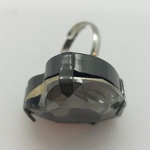 GASOLINE GLAMOUR Jewelry - HEART THROB CRYSTAL SMOKE HEART RING NEW